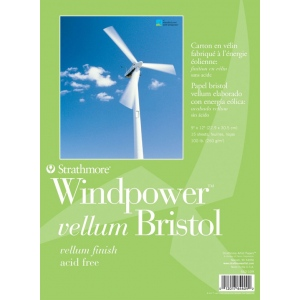 "Strathmore® Windpower™ 9"" x 12"" Tape Bound Bristol Vellum Pad: Tape Bound, White/Ivory, Pad, 15 Sheets, 9"" x 12"", 100 lb, (model ST642-109), price per 15 Sheets pad"