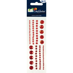 "Blue Hills Studio™ ColorStories™ Adhesive Gems Red: Red/Pink, Gem, 2"" x 5 3/4"", Dimensional, (model BHS10102), price per each"