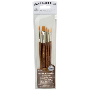 Royal & Langnickel® 9100 Series Zip N' Close™ Brown 6-Piece Brush Sets