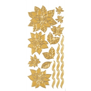 "Dazzles™ Stickers Gold Poinsettias: Metallic, 4"" x 9"", Outline"