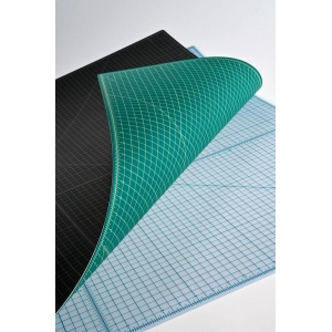 "Alvin® GBM Series Green/Black Professional Self-Healing Cutting Mat 3 1/2 x 5 1/2: Black/Gray, Green, Grid, Vinyl, 3 1/2"" x 5 1/2"", 3mm, Cutting Mat, (model GBM0305), price per each"