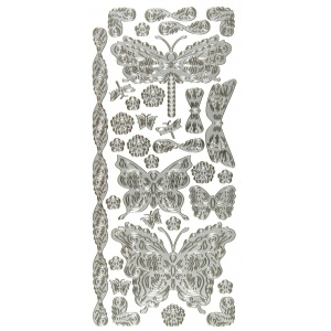 "Dazzles™ Stickers Butterflies & Dragonflies Silver: Metallic, 4"" x 9"", Outline, (model HOTP2030), price per each"