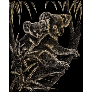 "Royal & Langnickel® Engraving Art Set Gold Foil Koala Bears: 8"" x 10"", Metallic"