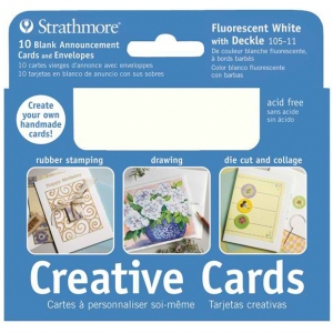 "Strathmore® 3.5 x 4.875 Fluorescent White/Deckle Creative Cards: White/Ivory, Envelope Included, Card, 10 Cards, 3 1/2"" x 4 7/8"", 80 lb"