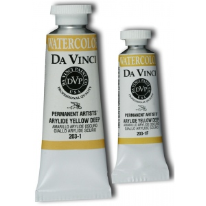 Da Vinci Artists' Watercolor Paint 15ml Arylide Yellow Deep: Yellow, Tube, 15 ml, Watercolor, (model DAV203-1F), price per tube