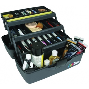 "Artbin® Essentials Three-Tray Box: Black/Gray, Plastic, 9 1/4""d x 17 1/2""w x 8 1/2""h, (model 8737AB), price per each"