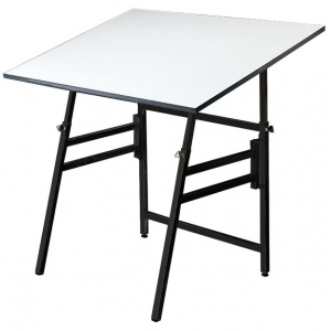 "Alvin® Professional Table Black Base White Top 24"" x 36"": 0 - 45, Black/Gray, Steel, 29"" - 45"", White/Ivory, Melamine, 24"" x 36"", (model MODEL X-3-XB), price per each"