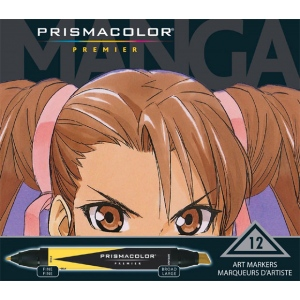 Prismacolor® Manga Marker 12-Color Set: Multi, Double-Ended, Broad Nib, Fine Nib, (model SN1759444), price per set