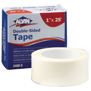 "Alvin® Double-Sided Tape 1"" x 25ft: White/Ivory, 1"" x 25', Double-Sided, 1"", (model 2400-C), price per each"