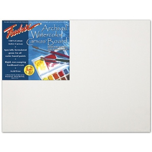"Fredrix® Artist Series 18 x 24 Archival Watercolor Canvas Board: White/Ivory, Panel/Board, 18"" x 24"", Stretched, Watercolor, (model T3446), price per each"