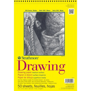"Strathmore® 300 Series 9"" x 12"" Wire Bound Drawing Pad 50 Sheets: Wire Bound, White/Ivory, Pad, 50 Sheets, 9"" x 12"", Medium, 70 lb"