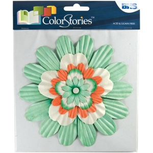 "Blue Hills Studio™ ColorStories™ Handmade Paper Stacked Flowers Green: Green, Paper, 6"", Dimensional"
