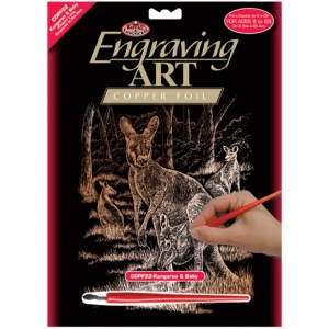 "Royal & Langnickel® Engraving Art Set Copper Foil Kangaroo & Baby: 8"" x 10"", Metallic, (model COPF22), price per set"