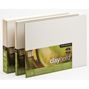 "Ampersand 1/8"" Smooth Flat Panel Claybord: 12"" x 12"", Case of 12"