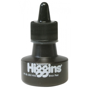 Higgins® Waterproof Color Drawing Ink Red Brick: Red/Pink, Bottle, Dye-Based, 1 oz, Waterproof
