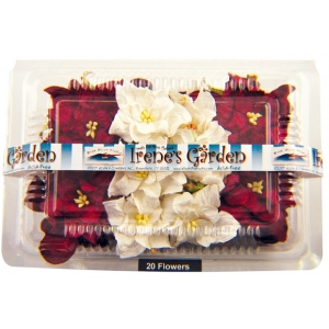"Blue Hills Studio™ Irene's Garden™ Box O'Gardenias Dimensional Paper Flowers Burgundy/White: Red/Pink, White/Ivory, Paper, 2"", 3"", Dimensional, (model BHS107514), price per box"