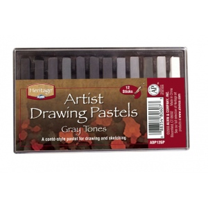 Heritage Arts™ Artist Drawing Pastels Gray Tones 12-Color Set: Black/Gray, White/Ivory, Stick, Drawing, (model ADP12GP), price per set