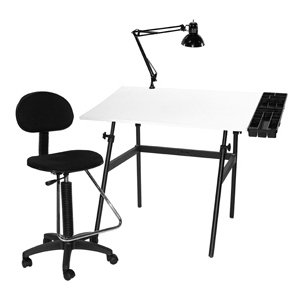 Martin Berkeley 4-pc Combo Black with White Top, Tray Lamp and Drafting Ht. Chair: Model # U-DS14041B