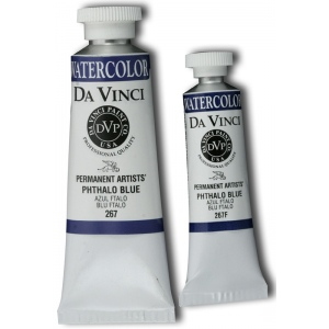 Da Vinci Artists' Watercolor Paint 15ml Phthalo Blue: Blue, Tube, 15 ml, Watercolor, (model DAV267F), price per tube