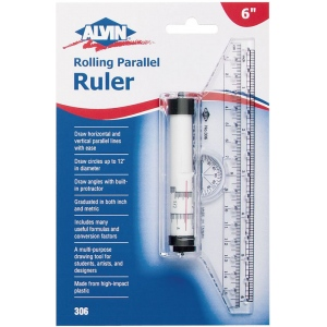 "Alvin® 6"" Rolling Parallel Ruler: Plastic, 6"", Straightedge, (model 306), price per each"
