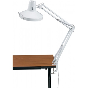 Alvin White Swing-Arm Combination Lamp with CFL Bulb