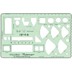 "Timely® Kitchen/Bathroom Planner Template: 1/2"" = 1', (model 33T), price per each"