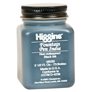Higgins® Fountain Pen India Ink: Black/Gray, Jar, Fountain, India, 2.5 oz, (model SN46030), price per each
