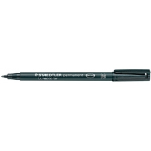 Lumocolor® Permanent Medium Black Marker: Black/Gray, Medium Nib, (model 317-9), price per each