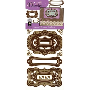 "Dazzles™ Stickers Nested Frames Brown: Metallic, 4"" x 9"", Flat, (model HOTP1925), price per each"