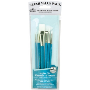 Royal & Langnickel® 9100 Series Zip N' Close™ Teal Blue 7-Piece Brush Sets