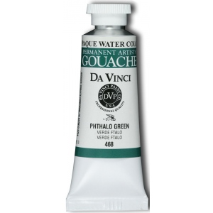 Da Vinci Artists' Gouache Opaque Watercolor 37ml Phthalo Green: Green, Tube, 37 ml, Gouache, Watercolor, (model DAV468), price per tube