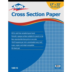 "Alvin® Cross Section Paper 10"" x 10"" Grid 50-Sheet Pad 17"" x 22"": Pad, 10"" x 10"", 50 Sheets, 17"" x 22"", Drawing, 20 lb"