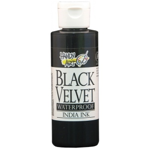 Handy Art 4 oz. Waterproof India Ink: Black/Gray, Bottle, India, 4 oz, (model 410-000), price per each