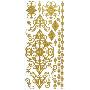"Dazzles™ Stickers Gold Flourish: Metallic, 4"" x 9"", Outline, (model HOTP2064), price per each"