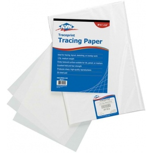 "Alvin® Traceprint Tracing Paper 100-Sheet Pad 11"" x 17"": Fold Over, White/Ivory, Sheet, 100 Sheets, 11"" x 17"", Tracing, 17 lb"