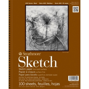 "Strathmore® 400 Series 14"" x 17"" Wire Bound Sketch Pad: Wire Bound, White/Ivory, Pad, 100 Sheets, 14"" x 17"", 60 lb, (model ST455-5), price per 100 Sheets pad"