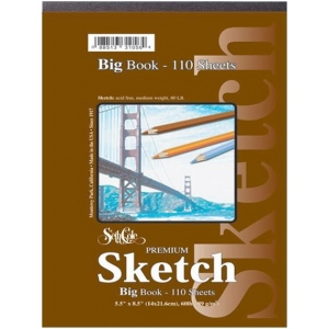 "Seth Cole 9"" x 12"" Premium Sketch Big Book: Wire Bound, White/Ivory, Pad, 55 Sheets, 9"" x 12"", 60 lb, (model SC92C), price per 55 Sheets pad"