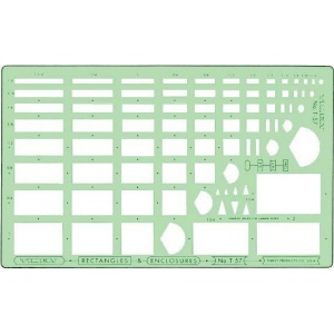 "Timely® Rectangles & Enclosures Templates: 1/16"" x 1/8"" - 1 1/4"" x 2"", (model 57T), price per each"