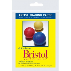 "Strathmore® 300 Series 2.5"" x 3.5"" Vellum Surface Bristol Artist Trading Cards: White/Ivory, Artist Trading Card, 20 Cards, 2 1/2"" x 3 1/2"", Vellum, Bristol, 100 lb, (model ST105-902), price per 20 Cards"