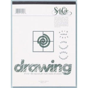 "Seth Cole 18"" x 24"" Drawing Paper Pad: White/Ivory, Pad, 24 Sheets, 18"" x 24"", 80 lb"