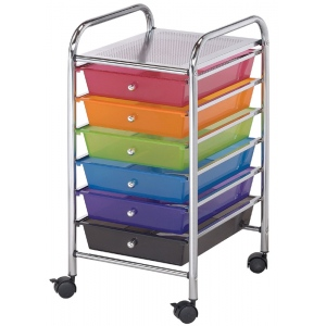 "Blue Hills Studio™ Storage Cart 6-Drawer (Standard) Multi-Colored: Multi, 13 5/8""l x 9 5/8""w x 5/8""h, Plastic, 6-Drawer, (model SC62MC), price per each"