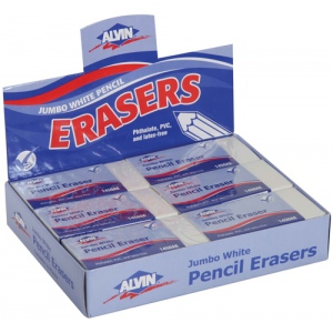 Alvin® Jumbo White Pencil Erasers 12/Box: Vinyl, 12-Box, Manual, (model 1450AE), price per 12-Box box