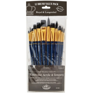 Royal & Langnickel® 9300 Series  Zip N' Close™ 12-Piece Black Taklon Brush Set 2: Short Handle, Taklon, Bright, Filbert, Flat, Round, Acrylic, Tempera, Watercolor, (model RSET-9302), price per set
