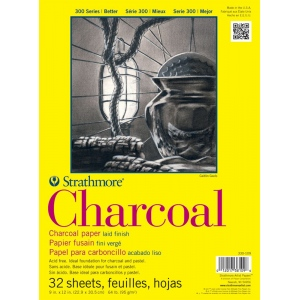 "Strathmore® 300 Series 9"" x 12"" White Glue Bound Charcoal Pad: Glue Bound, White/Ivory, Laid, Pad, 32 Sheets, 9"" x 12"", Charcoal, 64 lb, (model ST330-109), price per 32 Sheets pad"