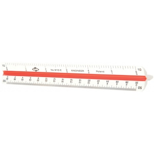 "Alvin® 600 Series 6"" High Impact Plastic Engineer Triangular Scale: White/Ivory, Plastic, 6"", Engineer, (model 610E), price per each"