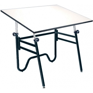 Alvin® Opal Table Black Base White Top Height/Angle Adjustment