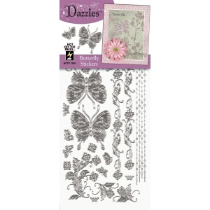 "Dazzles™ Stickers Silver Butterfly: Metallic, 4"" x 9"", Outline, (model HOTP1849), price per each"