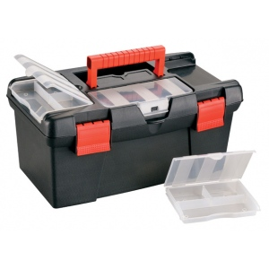 "Heritage Arts™ Medium Art Black Tool Box: Black/Gray, Plastic, 7 1/8""d x 15 1/2""w x 8 3/4""h, (model HPB1609), price per each"