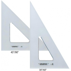 "Alvin® 10"" & 12"" Transparent Triangle Set: 30/60, 45/90, 10"", 12"", Triangle, (model AS1012), price per set"