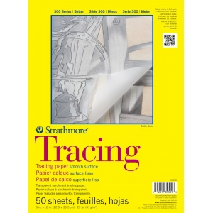 "Strathmore® 300 Series 9"" x 12"" Tape Bound Tracing Pad: Tape Bound, Pad, 50 Sheets, 9"" x 12"", Smooth, 25 lb"
